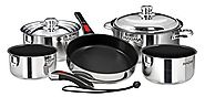 Magma Products, A10-366-2-IND Gourmet Nesting Stainless Steel Induction Cookware Set with Non-Stick Ceramica (10 Piece)