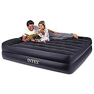 Intex Pillow Rest Raised Airbed with Built-in Pillow and Electric Pump, Queen, Bed Height 16 1/2""