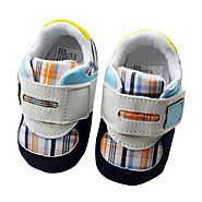 Toddler Boy Fuax Leather Crib Shoes Soft Sole Velcro Sport Sneakers Blue L