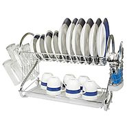 2 Tier Dish Rack with Tray - Home Basics Delux