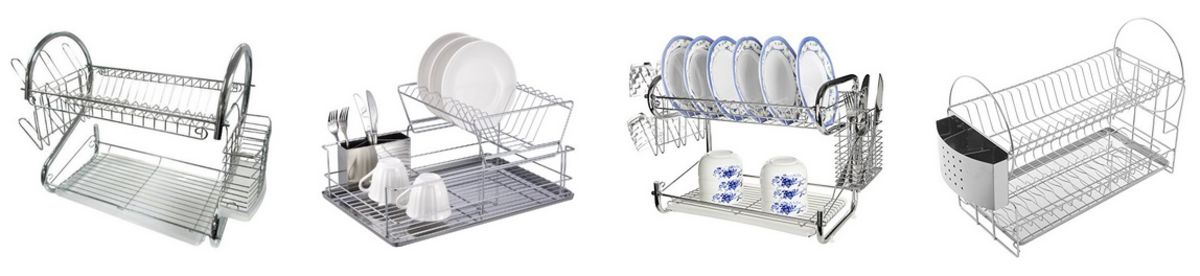 Headline for 2 Tier Dish Rack with Tray - Stainless Steel Two Tier Dish Racks