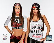 Nikki and Brie Bella (Bella Twins) - WWE 8x10 Photo (2015 posed, wearing shirts)