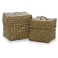 Small Square Sea Grass Baskets with Lids - Set of 2