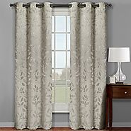 Pair of Two Top Grommet Claire Micro Suede Jacquard Blackout Weave Thermal Insulated Curtain Panels, Triple-Pass Yarn...