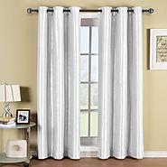 Pair of Two White Top Grommet Blackout Curtain Panels, Triple-Pass Foam Back Layer, Elegant and Contemporary Soho 63 ...
