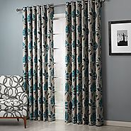 "TWOPAGES Faux Linen Blue Leaf 90% Blackout Curtain Drapes Grommet(One Panel) 72Wx96""L"