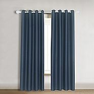 "Blackout Curtains Amazlinen(TM) Toxic Free Solid Thermal Insulated Grommet Window Curtains Blackout Navy Blue,52""W X ..."