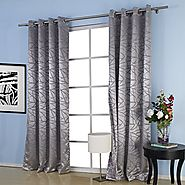 "IYUEGOU Jacquard Belonging Room Darkening Thermal Grommet Top Curtain Drapes With Multi Size Custom 50"" W x 84"" L (On..."