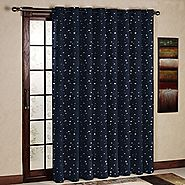 One(1) Panel Grommet Top Thermal Insulated Blackout Navy Stars kids Curtain Panels
