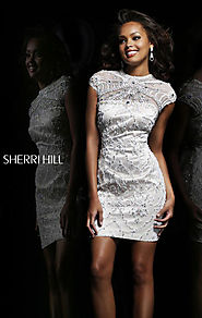 Jeweled High-Neck Short Cocktail Dresses Cap Sleeves Ivory/Nude 2015 Sherri Hill 3877