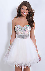 Blush by Alexia 9852 Beaded Ivory/Champagne Strapless Short Bodice Cocktail Dresses 2015