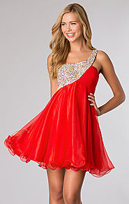 JVN by Jovani 21203 Jeweled Red Short Chiffon Prom Dresses 2015 One Shoulder [JVN by Jovani 21203 Red] - $161.00 : ww...
