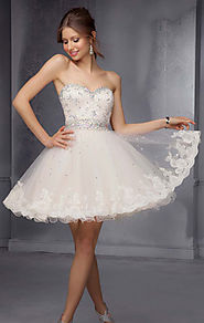 Champagne Beaded Sweetheart-Neck Mori Lee 9278 Short Lace Prom Dresses 2015 [Mori Lee 9278 Champagne] - $164.00 : www...