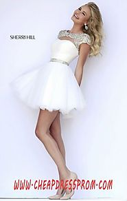 Scoop-Neck 2015 Sherri Hill 11191 Beading Ivory/Silver Short Ruched Cocktail Dresses