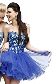Sweetheart-Neck Royal Bodice 2015 Short Tulle Cocktail Dress A-Line Sherri Hill 21101