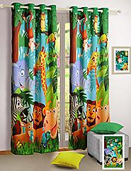 "Jungle Animals Window Curtains - Set of 2 Curtain Panels for a Baby Nursery or Toddler or Kids Bedroom - 48"" x 60"" pa..."