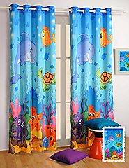 "Water World Window Curtains - Set of 2 Curtain Panels for a Baby Nursery or Toddler or Kids Bedroom - 48"" x 60"" panel..."