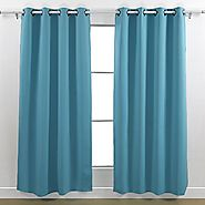Deconovo Thermal Insulated Blackout Two Panel Curtains For Nursery Room 52 By 95 Inch,Teal