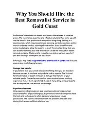 Why You Should Hire the Best Removalist Service in Gold Coast