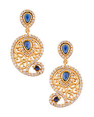 Splendid Earring Pair Studded With CZ Sparkles and Green Stones | Buy Designer & Fashion Earrings Online