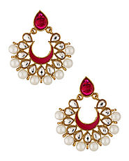Gold Tone Danglers Studded With Pearl Beads | Buy Designer & Fashion Earrings Online