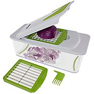 Freshware KT-406 7-in-1 Onion Chopper, Vegetable Slicer, Fruit and Cheese Cutter Container with Storage Lid and Mando...