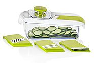 Sunkist SAP2700G Adjustable Mandoline Slicer with Container, Green