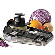 Starfrit 4-Blades Easy Mandoline Slicer with Container, Black