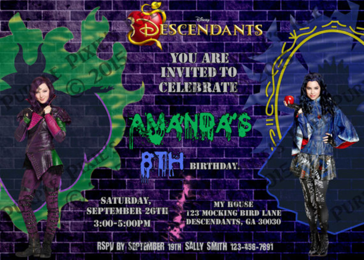 Headline for Disney Descendants Birthday Party Ideas and Supplies for a themed birthday.