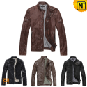 Mens Fitted Leather Jacket CW138290 - cwmalls.com