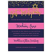 Bat Mitzvah Invitations - Navy & Pink Stripes with Gold Confetti