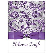 Bat Mitzvah Invitation | Purple, Silver, White Snowflakes 3 | Printed Glitter, Printed Ribbon