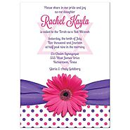 Bat Mitzvah Invitation | Polka Dot Daisy Pink Purple
