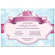 Bat Mitzvah Invitations - Royal Princess Pink Glitter Blue