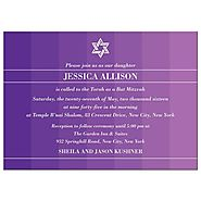 Bar Bat Mitzvah Invitation - Purple Tonal Ombre Columns