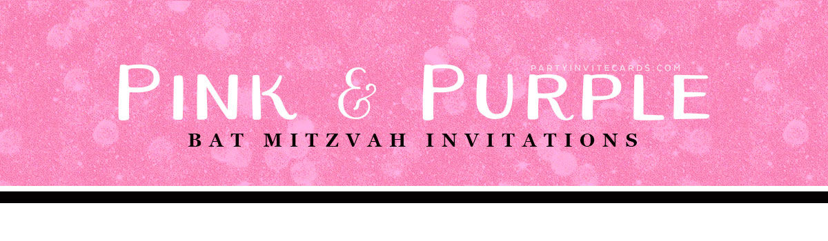 Headline for Bat Mitzvah Invitations | Pink Purple Color designs at Lemonleafprints