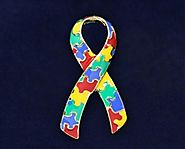 Autism Ribbon Pin - Autism Pin - Colored Puzzle Piece Pin