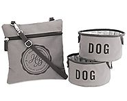 Harry Barker Large Grey Fold-Up Bowls and Pouch, 72-Ounces