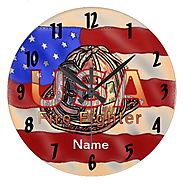 Flag Firefighter Wall Clocks