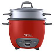 Aroma 6-Cup (Cooked) Pot Style Rice Cooker and Food Steamer (ARC-743-1NGR)