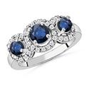 Three Stone Sapphire Ring, 3-Stone Sapphire Engagement Ring with Diamond Accents/Border | Angara.com