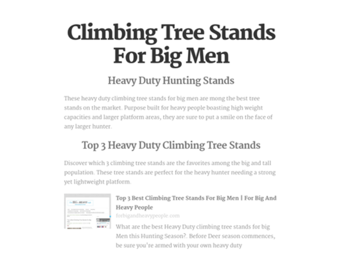 Heavy Duty Climbing Tree Stands For Big Men