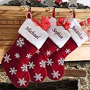 Red Velvet Personalized Snowflake Christmas Stocking