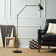 Industrial Task Floor Lamp - Black + Brass $199