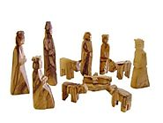 Olive Wood Children's Nativity Set (12 Pieces Set).