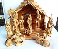 Traditional Bethlehem Olive Wood Nativity Set Large