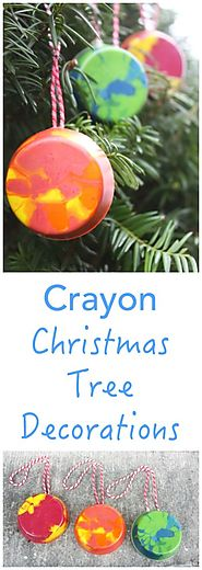 HANDMADE CRAYON CHRISTMAS TREE DECORATION