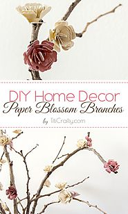 DIY Home Decor Paper Flowers Blossom Branches | The Crafting Nook by Titicrafty