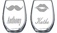 Personalized Stemless Wine Glass Set with Names with Mustache and Lips set of 2