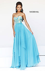 Cheap Sherri Hill 1924 Layered Turquoise Sweetheart-Neck Long Lace Evening Gown